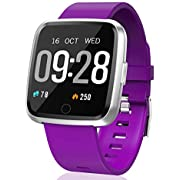 HuaWise Fitness Wrist Watch with Fitness Tracker, Bluetooth Sports Watch Activity Tracker Pedometer, Sleep Monitor, Calorie Counter, Heart Rate Monitor for Android/iOS [2 x Replaceable Watch Strap]