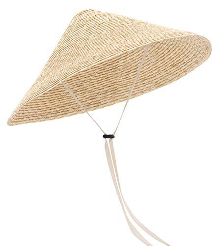 GEMVIE Damen Vietnamesischer Strohhut UV-Schutz Sonnenhut Sommerhut Outdoor Gärtnerhut Hutumfang 56-58cm Weiß
