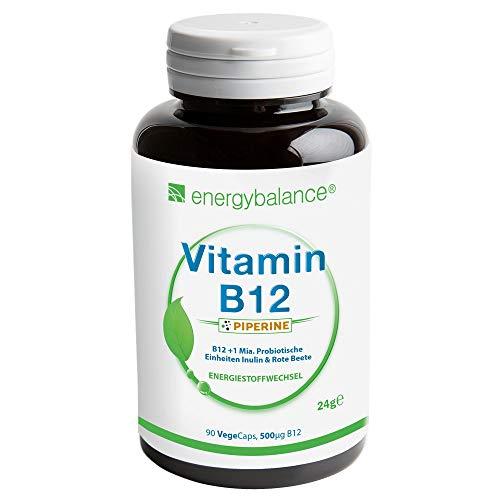 Vitamina B12 metilcobalamina biológicamente activa + Piperina- 500mcg - Vegano - Sin gluten - Sin aditivos - Ingredientes 100% puros - Sin OGM - 90 VegeCaps