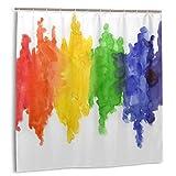 LiBei Cortina de Ducha,Bandera Colorida Acuarela Colores del Arco Iris Gay Lesbiana LGBT Pintura Amarilla Orgullo Tela Baño Decoración Conjunto con Ganchos 150cmx180cm