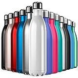BICASLOVE Botella de Agua de Acero Inoxidable,Diseño de Pared Doble,Boca Estándar,para Correr,Gimnasio,Yoga,Ciclismo (Blamco, 750ml)
