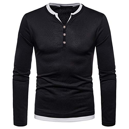 Herren T-Shirt Langarmshirt Shirt Mit Grandad-Ausschnitt Männer Henley Shirt V-Ausschnitt Double-Layer Look mit Knopfleiste,Weiche Thermohemd Tops Fleecefutter Warmes Winter Herbst 2XL