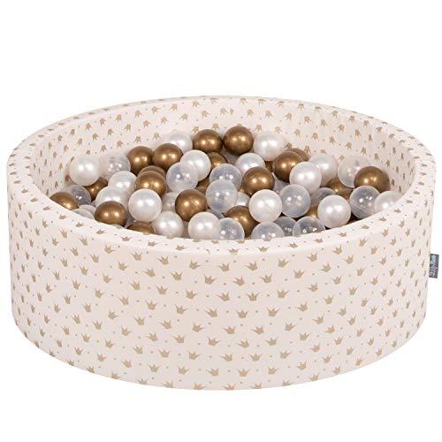KiddyMoon piscina de bolas - 200 bolas - textil estampado / bolas color oro - transparente y perla