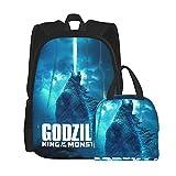 God_Zli1a Mochila escolar de 2 piezas con bolsa de almuerzo unisex para adolescentes, bolsas escolares con bolsa de almuerzo aislada, Black2, Talla única