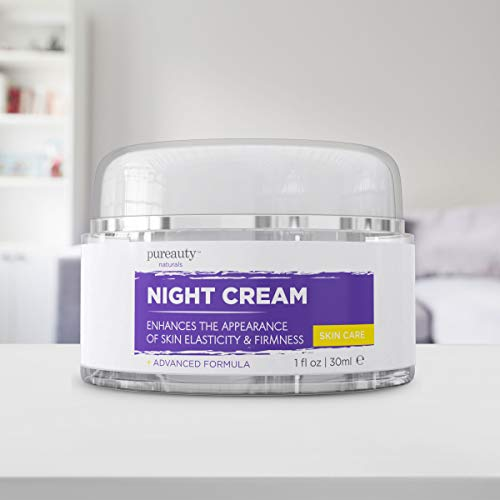 41gZ3l8067L - Night Cream for Face and Neck, Anti Aging Cream and Night Moisturizer for Women and Men, Help Reduce The Appearance of Wrinkles, Fine Lines - Night Face Cream for Anti-Aging - Pureauty Naturals - 30ml