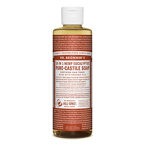 Dr. Bronner's - Pure-Castile Liquid Soap (Eucalyptus, 8 ounce) - Made with Organic Oils, 18-in-1 Uses: Face, Body, Hair, Laundry, Pets and Dishes, Concentrated, Vegan, Non-GMO