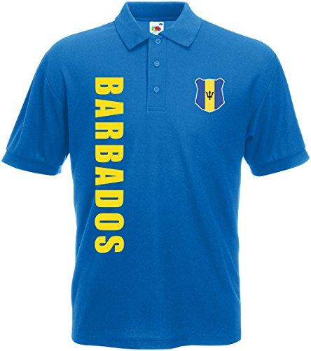 AkyTEX Barbados WM-2022 Polo-Shirt Wunschname Nummer Royalblau S
