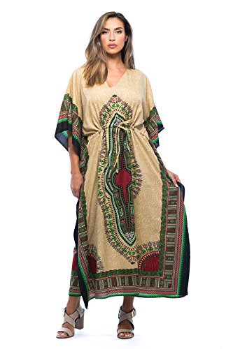 Riviera Sun Maxi-Caftan für Damen, Afrikanisches Muster - Mehrfarbig - Small/Medium
