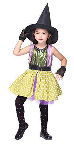 Bigood Costumes Déguisement Cospaly Sorcière Néon pour Enfant Fille pour Halloween M