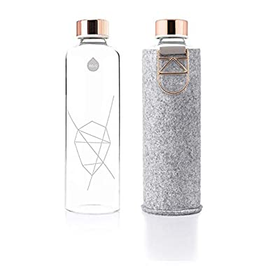 EQUA Glass Water Bottle - 25 oz - Leak Proof and BPA Free - from Borosilicate Glass and Felt Cover for Extra Protection