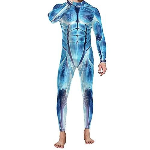BIONIO Skeleton Halloween Costume for Men,Jumpsuit Luminous Skull Skin Full Body Tights Suit Bone Suit Adult Costume Light Blue