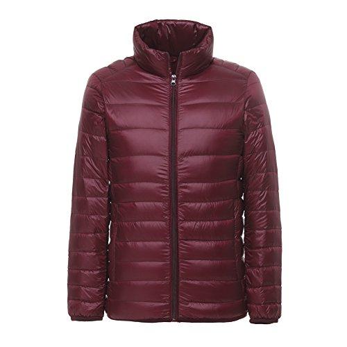 Lanbaosi Men's Ultra Light Weight Stand Collar Packable Short Down Jacket, Wine Red, Medium