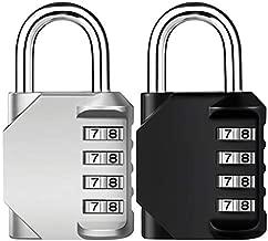 Combination Lock, 4 Digit Combination Padlock, Waterproof Gate Lock, Resettable Combo Lock for Locker, Gym, Cases, Toolbox, School, 2 Pack - Silver & Black