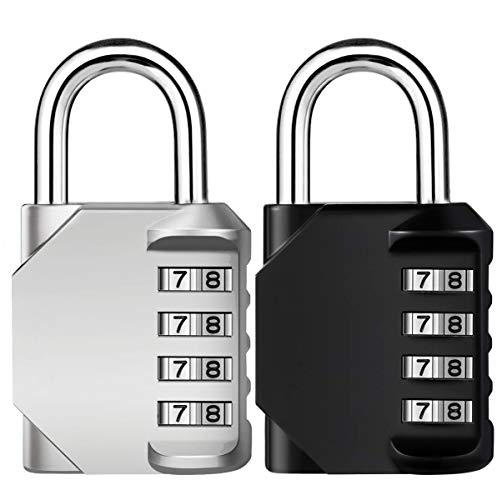 Combination Lock, 4 Digit Combination Padlock, Waterproof Gate Lock, Resettable Combo Lock for Locker, Gym, Cases, Toolbox, School, 2 Pack - Silver & Black
