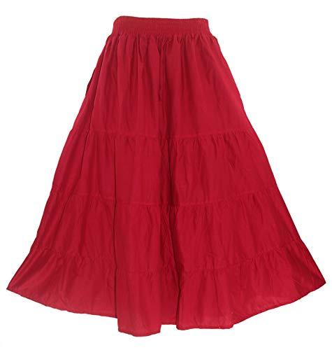 Beautybatik Red Women Cotton Boho Gypsy Long Maxi Tier Flare Skirt 3X