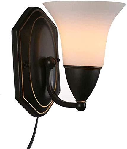 HCMNME Lámpara Industrial, Enchufe de Vintage Industrial en Accesorios de luz de Pared lámpara de Pared de vanidad de escoce, Negro con Vidrio ópalo,Decoración del hogar