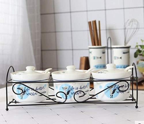 Ceramica Barattoli Portaspezie Zuccheriera In Ceramica Casa Cucina Cactus Foglie Vasetti Per Condimenti Al Sale Con Cucchiai