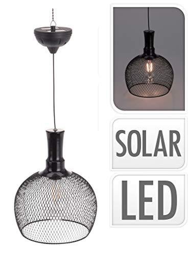 LED Deko Solar Hängelampe schwarz - 22x18 cm - Fadenlampe Solarlampe Gartenlampe Hängeleuchte