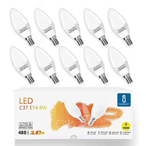 Aigostar - Bombilla LED C37, forma de vela, E14 casquillo fino, 6W equivalente a 40W, 480 lúmenes, CRI 80. No regulable. Pack 10 uds.