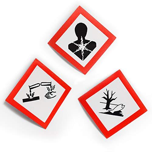 JAKLARO! 3 Gefahrensymbole/-Piktogramme als Aufnäher. 3 Coole Dekorationen für Jeans, T-Shirts, Jacken, Rucksäcke, Hoodies. Ätzend, gesundheitsschädlich und umweltgefährlich als Chemie Patch