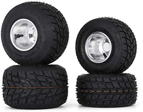 VEVOR Tires and Rims Go Kart 58 mm Bolt Pattern, Go Cart Wheels and Tires 10'x 4.50' Front, 11'x 6.0' Rear HUB- 3-hole Sets of 4