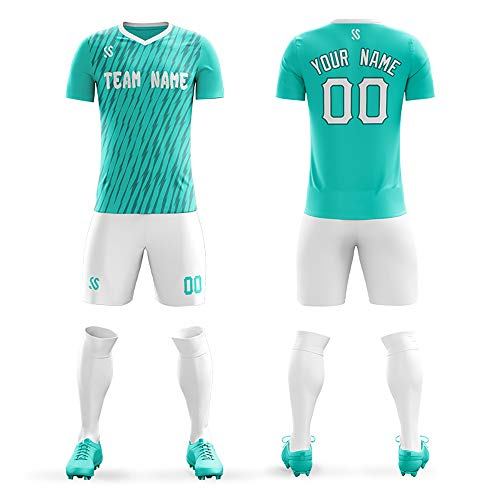 Men Custom Football Jerseys Uniforms Personalized Your Own Team Soccer Jersey Set Drit-Fit (Green, XL-Men)