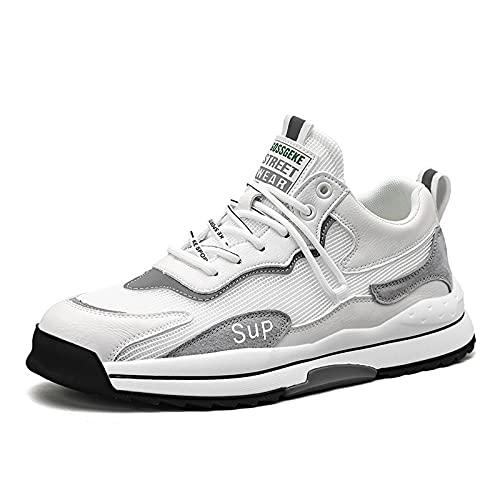 Entrenadores Hombres Zapatillas de Deporte, Zapatos Deportivos de Tenis para Correr al Aire Libre Zapatos de Deportes de Malla Transpirables Ocasionales Zapatos atléticos,Blanco,43