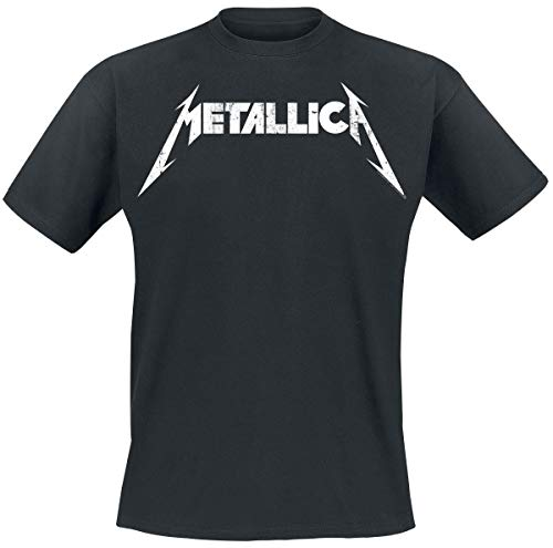 Metallica Textured Logo Männer T-Shirt schwarz M 100% Baumwolle Band-Merch, Bands