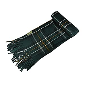 "Man Of Aran Celtic Irish Gents Acrylic Scarf with Green, White & Yellow Tartan Design 8"" X 62"""