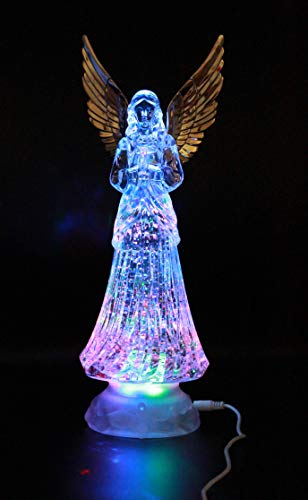 Crystal Angel LED Lighted Sparkling Multi-Color Changing Figurines 12'' Prayer Angel Statues Home Decorative/Decor Figurine Faith-Hope- Love-Peace Angels Wings Statue XMAS Ornaments Decorations