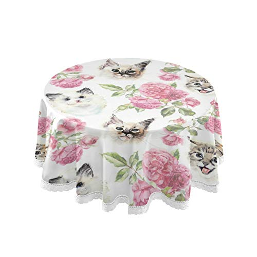ALAZA Cat Kitten Rose Flower 60 x 60 Inch Table Cloth for Round Tables with Elastic Tablecloth Anti Wrinkle Table Cover for Dining Kitchen Parties