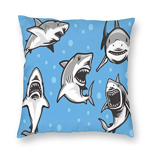 AEMAPE Throw Pillow Covers, Shark Teeth Decorative Square Throw Pillow Covers Soft Soild Cushion Covers for Sofa Bedroom Car,18x18 in