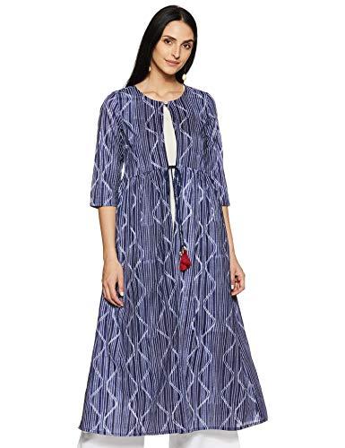 Rangmanch by Pantaloons Women's Cotton a-line Kurta (110050201_ Indigo_ Medium)