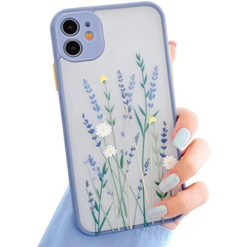 Kompatibel mit iPhone 11 Hülle,Blätter Blumen Muster Handyhülle für Mädchen Frauen Transparent Matte PC Rückseite Weich Silikon Bumper Schutzhülle Case für iPhone 11