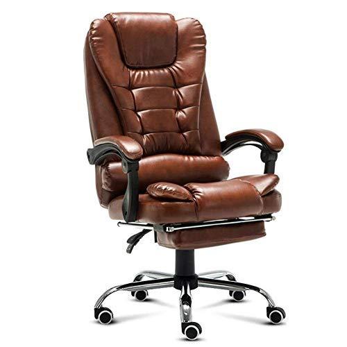 Gooxiaomei Bureaustoel, zithoek functie, managerswivel chroom basis computerstoel gewatteerde bureaustoel ergonomische draaistoel With Footrest bruin