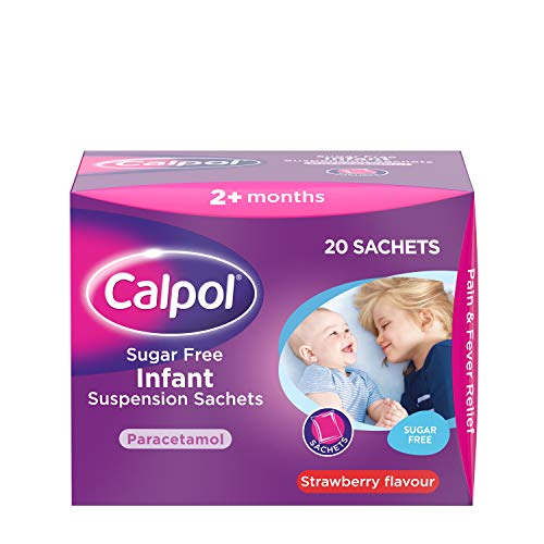 Calpol Sugar Free Infant Suspension Sachets Strawberry Flavour 2+ Months, 20 x 5ml