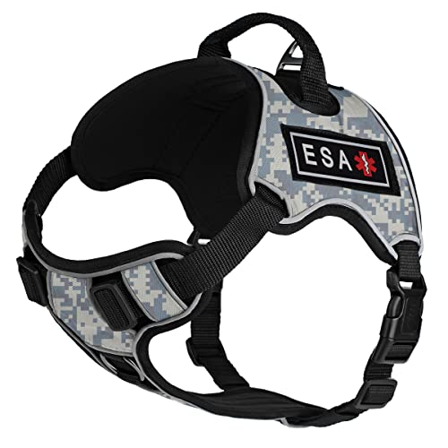 Dogline Quest No-Pull Dog Harness with 3D Rubber ESA Removable Patches Reflective Soft Comfortable Dog Vest with Quick Release Dual Buckles Black Hardware and Handle 21 to 25 inches Urban Camo