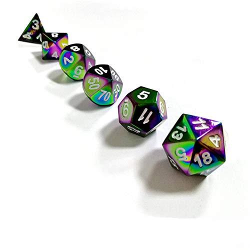 Sunnay 7 Stück Metall Würfel DND Polyhedral Solid Metall D&D Würfel Nickel Set mit Zahlen,Einsteigerset A5 Stil
