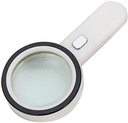 ZTHUAYUAN Lupa de artesanía Creativa Ampliación luz del Espejo de Mano Lupa Identificación joyería Anciano Leyendo HD LED Lupa para Leer