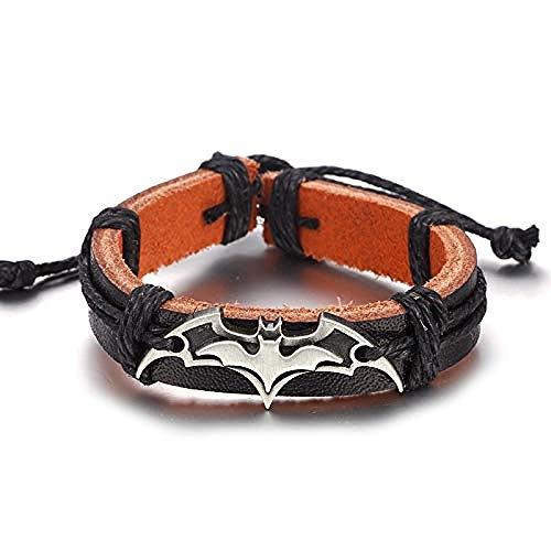Yiffshunl Bracelet Halloween Bracelet Vintage Moto Batman Bracelet en Cuir pour Hommes et Femmes À La Main Armure Corde Charme Bracelet Bijoux Accessoires Ami Cadeau Hommes Femmes Bracelet Bracelet