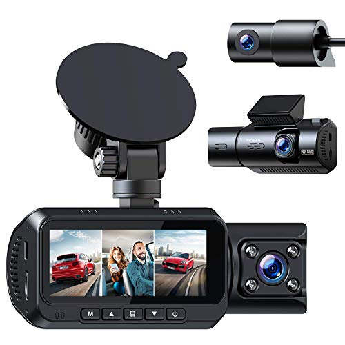 TOGUARD 3 Channel Dash Cam w/GPS, 4K+1080P Dual Dash Cam, 1080P+1080P+1080P Front Inside/Cabin Rear Triple Dash Camera Driving Recorder for Car Taxi w/IR Night Vision Parking Mode Loop Recording WDR