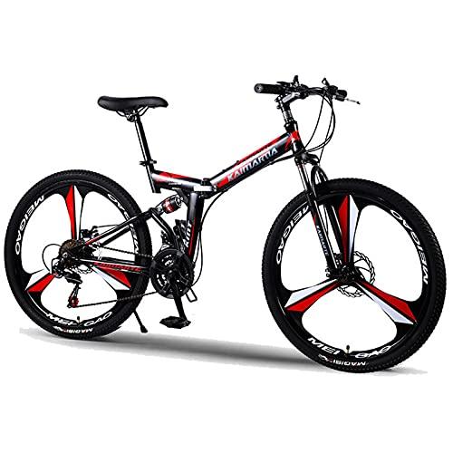 PBTRM Bicicleta Montaña Plegable 24 Pulgadas / 26 Pulgadas MTB, Marco Amortiguador Acero Carbono, Bicicleta Montaña con Freno Disco Doble, para Hombres Y Mujeres, Negro Rojo,27 Speed,26 Inches