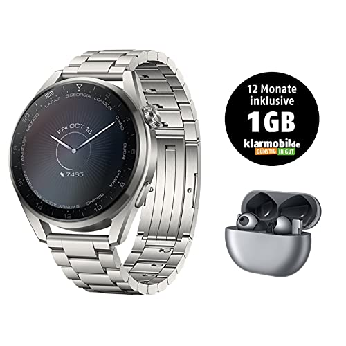 HUAWEI WATCH 3 Pro- 4G Smartwatch, eSIM Telefonie, 30 Monate Garantie, Edelstahlarmband + FreeBuds Pro, Silver Frost + Klarmobil Telekom Smartphone Flat 1 GB, 12 Monate inklusive, mntl. kündbar