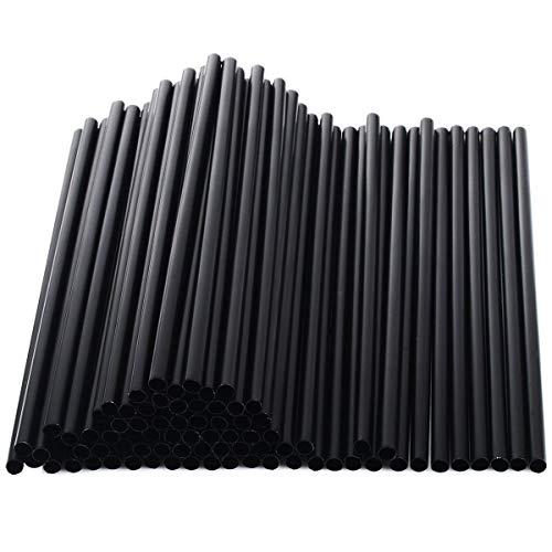 100 cannucce corte di plastica nere lunghe 13 cm.