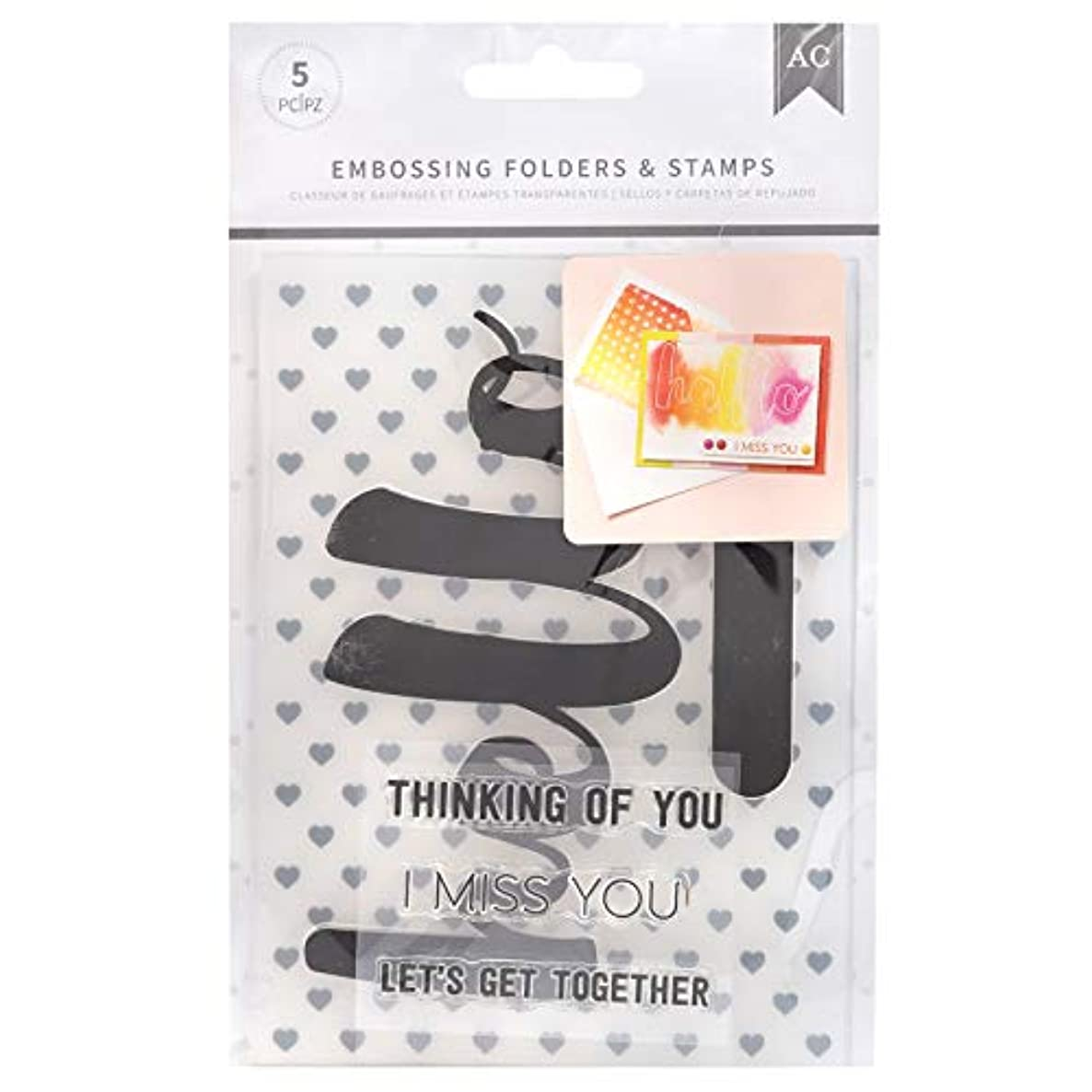 American Crafts 352086 Hello You Embossing Folders and Stamps, Multi