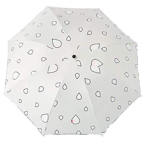 Lirener Farbwechsel Regenschirm, Faltbar Kompakt Vinyl Sonnenschirm UV-Schutz Winddicht Regenschirm, die Farbe Wechseln bei Nässe Windfest, Kompakte Design, 8 Verstärkten Rippen, Regentropfen muster