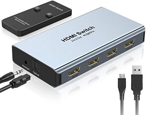 HDMI Splitter HDMI Switch 4K@60Hz | GANA 2 In 2 Out-4 Modalità Sdoppiatore HDMI con Audio e SPDIF e 5V DC Porta | Supporta 3D 4K HDCP, per Apple TV DVD Xbox PS3 PS4 Blu-Ray Player e Amplifier ecc.