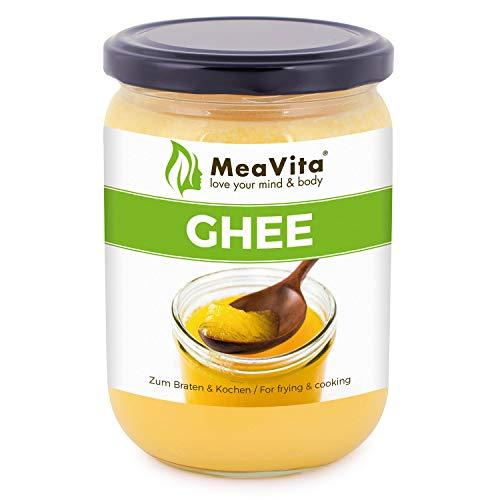 MeaVita Ghee, beurre clarifié, graisse de cuisson, beurre clarifié pour la cuisson, 1 paquet (1x 450ml) dans un verre