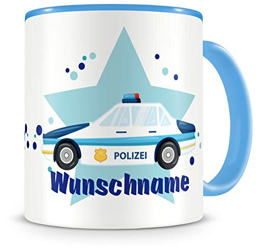 Samunshi® Kindertasse mit Namen Tasse Polizeiauto Personalisierte Tasse mit Namen Kinder Kinderbecher mit Namen Kindergarten blau 300ml