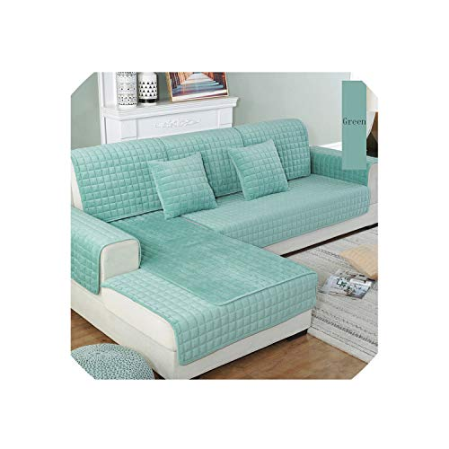 S-paw Thicken Crystal Velvet Fabric Sofa Cover Slip Resistant Slipcover Seat Couch Cover Sofa Towel for Living Room Decor,Green,W110 X L160Cm
